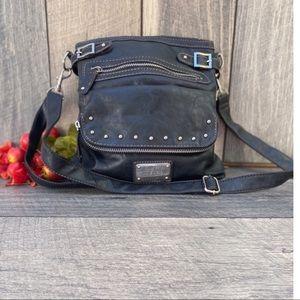 Nine West Adjustable Crossbody Black Leather Bag